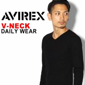 AVIREX デイリーVネックTシャツ アビレックス  Tシャツ 男 無地 カットソー 長袖