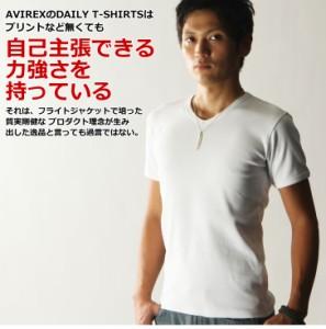 メール便送料無料 AVIREX デイリーVネックTシャツ アビレックス Tシャツ 半袖 無地  男 白T