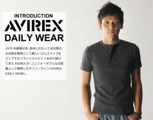 AVIREX アビレックス デイリーヘンリーネック メンズ Tシャツ インナー 夏 半袖 トップス 無地