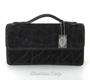 エレファント セカンドバッグ TE152 ブラック かぶせタイプ 象革 メンズ 男性用 高級皮革 黒 ゾウ