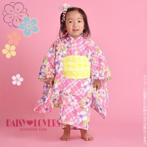 【あす着対応】 DAISYLOVERS乙葉女の子浴衣セット「ピンクチェック リボンとお花」 [送料無料] キッズ 子ども