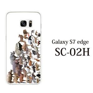 SCV33 SC-02H 共通 Galaxy S7 edge カバー ハード/ギャラクシー/ケース/au/docomo/クリア アニマルズ動物 キリン ライオン