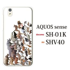 カバー AQUOS Sence SH-01K スマホケース docomo ハード/アクオス カバー/ケースクリア アニマルズ動物 キリン ライオン