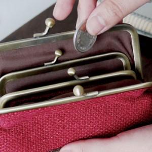 coron ダブルがま口ポーチ BEIGE ポーチ 財布 小物入れ 収納 雑貨 おしゃれ かわいい 普段使い プレゼント 現代百貨 K664BE