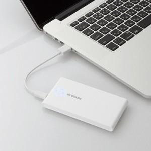 モバイルバッテリー 薄型 5000mAh 2.4A出力 ホワイト エレコム DE-M01L-5024WH