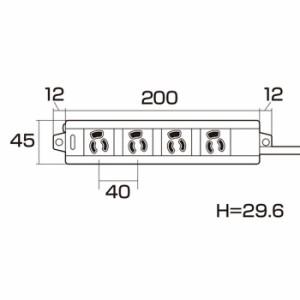 抜け止め マグネット 通電ランプ付き電源タップ(3P・4個口・3m) サンワサプライ TAP-MG341N2-3