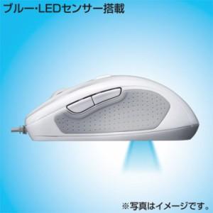 ブルーテック有線マウス ホワイト 超高感度ブルーLEDセンサー搭載、5ボタン有線マウス サンワサプライ MA-117HW