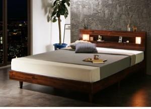 すのこベッド Letizia 国産ポケットコイルマットレス付き シングル 照明付き シングルベッド 照明付き 付き 脚