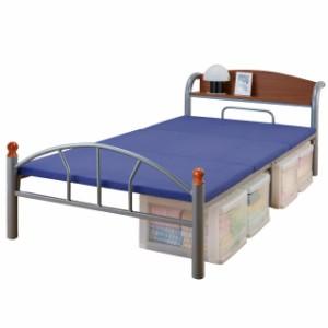 ベッド シングル フレーム パイプ パイプベッド 棚付き 引き出しなし