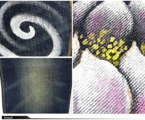 備中倉敷工房倉 京友禅手描きデニムパンツ[蓮流水柄]/和柄ジーンズ/25024/送料無料