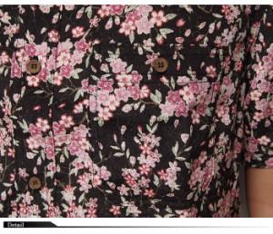 衣櫻[ころもざくら] 裏枝垂れ桜 縮緬素材 和柄半袖シャツ/日本製/SA-944/送料無料