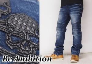 Be Ambition[ビーアンビション] バイカー スカルPUレザー ストレッチ ジーンズ/デニム/D26106/送料無料