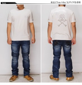 Be Ambition[ビーアンビション] スカル&ウィング ラインストーン Tシャツ/半袖/T26101/送料無料