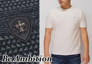 【カジュアルの1週間限定セール】定価7452円を31%OFFセール[SALE] Be Ambition[ビーアンビション] クロスワッペン&ロゴ Tシャツ/半袖/T2