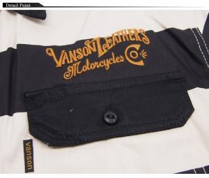 VANSON[バンソン] ツイルワーク ボーダー 半袖シャツ/NVSS-601/送料無料