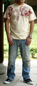 """【1】和柄Tシャツ""""龍図""""【メール便対応/若き着物職人が創作する手染和柄/新撰組でお馴染みの壬生からお届け】"""