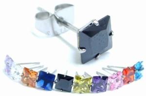 ロイヤルクラウンステンレスピアス(6mm) 1個販売 立て爪 たて爪 メンズ レディース 20G  20ゲージ 四角形 スクエア サージカルステンレ
