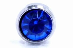 8mmジュエルステンレスピアス(サファイア)/1個販売 青色 ブルー 大きい ビッグジュエル サージカルステンレス ジルコニア台座ピアス シ