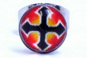 ナイトクロスステンレスピアス/1個販売 十字架 黒 赤 レッド ブラック サージカルステンレス 316L 20G 20ゲージ メンズ レディース ペア