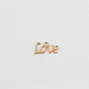 LOVEステンレスパーツ(ピンクゴールド)英語 メッセージ ラブ サージカルステンレス316L ペンダント トップ ネックレス パーツ ステンレ