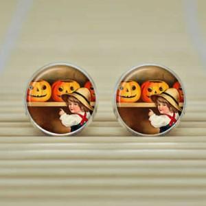ハロウィンピアス(ハロウィン)/1個販売 メンズ レディース ペア かぼちゃと少年のピアス おもしろ 絵画のようなピアス キャッチピアス