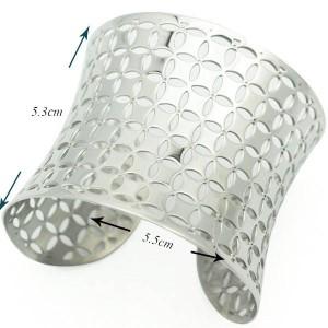 フラワーペタルステンレスバングル 腕輪 サージカルステンレス316L アームレット ステンレス バングル メンズ レディース 二の腕 低アレ