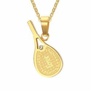 Loveテニスステンレスペンダント(ゴールド) サージカルステンレス316L ネックレス メンズ レディース テニス選手 テニスラケット ペア ト