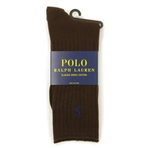 ポロ ラルフローレン POLO RALPH LAUREN 正規品 ソックス Cotton Crew Single Sock ブラウン