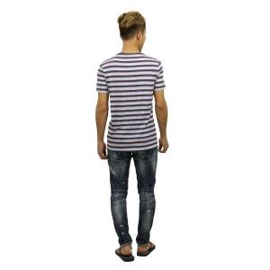 ポロ ラルフローレン POLO RALPH LAUREN 正規品 メンズ 半袖Tシャツ Ringer Striped T-Shirt BLUE