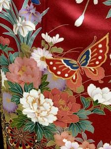 【往復送料無料】 ★正絹振袖フルセットレンタル★赤地に蝶と華車柄no3