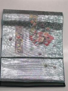 ▼藤林織物正絹九寸名古屋帯・お誂え仕立て付▼シアン地に螺鈿と短冊柄no20