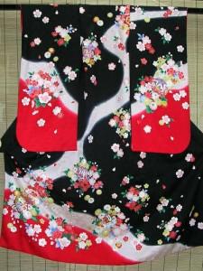 七五三レンタル★七歳女の子着物セット★黒地につづみと桜柄noE