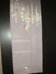 ★正絹附下着物★ラベンダー地に椿と梅柄no108