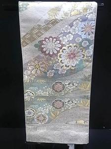 【送料無料】西陣正絹袋帯▲クリーム地に菊花柄▲no3
