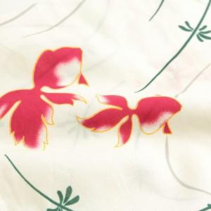 浴衣 セット レディース レトロ 高級変わり織り綿麻浴衣3点セット「生成り地に赤い金魚と水草・波紋」【5月下旬より順次発送】