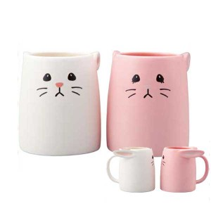 ■□SAN2338/sunart(サンアート) ペアマグカップ[白うさぎとピンクうさぎ]□■