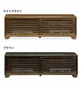 国産 和風モダンデザイン木製ローボード幅150cm浮造り仕上げ桐材使用ロータイプテレビ台高さ49cm ライトブラウン・ダークブラウン