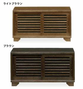 国産 和風モダンデザイン木製ローボード幅90cm浮造り仕上げの桐材を使用ロータイプテレビ台高さ49cm ライトブラウン・ダークブラウン