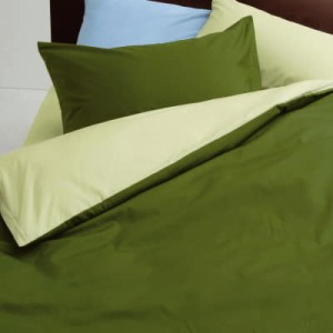 mee 西川カバー4点セット ME-00 ベッド用ダブル(掛カバー+ベッドシーツ+枕カバー2枚)リバーシブル(ライトグリーンxグリーン) 【KEY-C3】