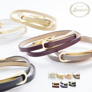 【 メール便 送料無料 】 ブレスレット ブレス フェイク レザー 2重巻き Luxury's ゴールド 落ち着いた レディース