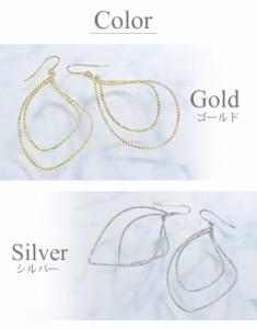 【 メール便 送料無料 】 ピアス ニッケルフリー フック フレーム 2連 カーブ Luxury's ゴールド シルバー