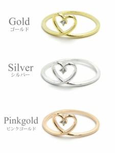 【 メール便 送料無料 】 リング 指輪 1粒 ラインストーン ハート フレーム シンプル 10号 ゴールド シルバー ピンクゴールド 可愛い
