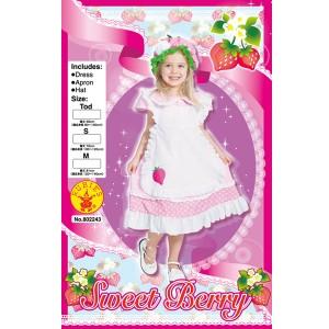 在庫限り【ラスト1点】 コスプレ 子供 女の子用 トドラーサイズ イチゴ柄 スウィートベリー 仮装