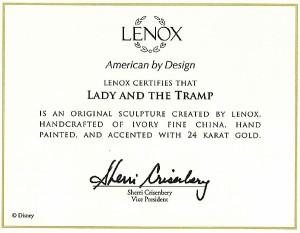 取寄品:3週間前後 ディズニー フィギュア レノックス LENOX社 白磁(陶器)製 『レディー&トランプ』 わんわん物語