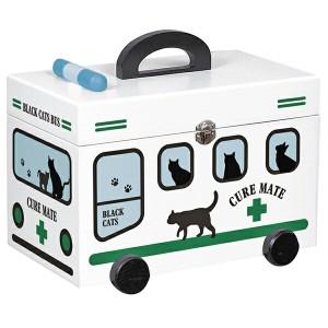 新生活 プレゼント 取寄品:3週間前後 救急箱 おしゃれ 木製 救急車 「黒猫柄」 ホワイト インテリア雑貨