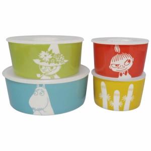 新生活 プレゼント 取寄品:3週間前後 ムーミン リトルミイ スナフキン 3ョロ3ョロ 保存容器 4点セット レンジ対応 フタ付き 陶器製 か
