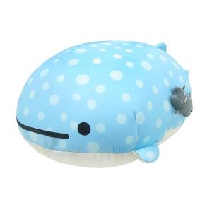 新生活 プレゼント じんべえさん ダイカットマイクロビーズクッション (ぬいぐるみ/枕/まくら) A 寝そべり ゆったりじんべえらいふ