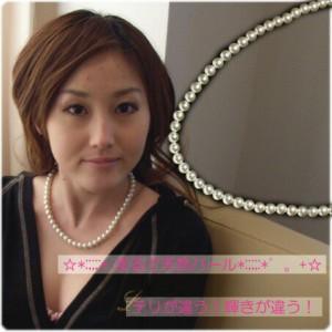 ガラスパール連ネックレス直径8or9ミリ☆パールの質が違う!