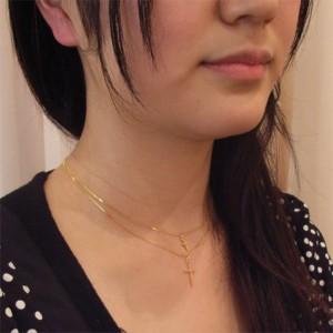 クロス2連シンプルでクールなネックレス☆ 1本で重ね着けの雰囲気!