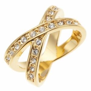 ラインストーンクロスリング ニッケルフリー シルバー ゴールドが選べるスタイリッシュな指輪